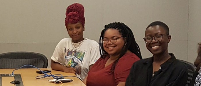 The three students who participated in the New York Scholars in Residence program in the summer of 2018.