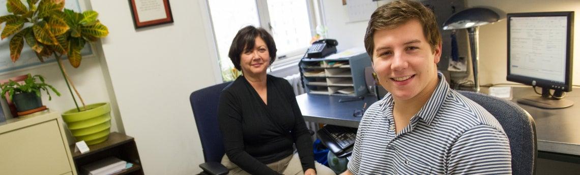 Andrew Restrepo with advisor Katie Bruce