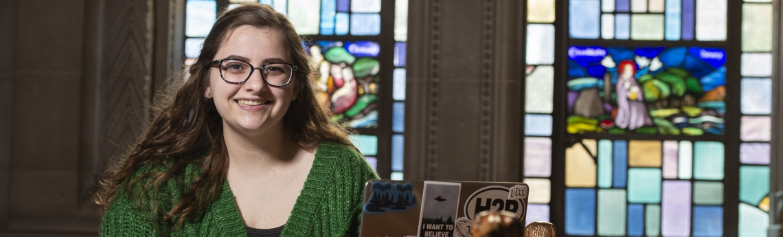 Student Annette Yauger in one of Pitt's Nationality Rooms