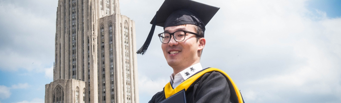 A Pitt graduate outside the Cathedral